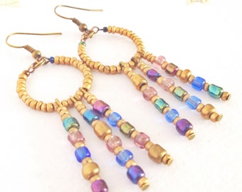 Eco-Friendly Earrings in Gold & Iridescent Blue - Twilight Collection - New Autumn 2016