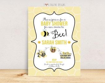 Bumble Bee Baby Shower Invitation - Printable Digital File - Custom