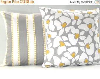 Pillow Cover, Pillows, Yellow Pillow, Grey Pillow, Decorative Pillow, Decorative Throw Pillows, Yellow And Grey Pillows