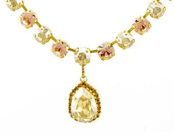 Peach Swarovski crystal teardrop pendant necklace - Wedding jewelry