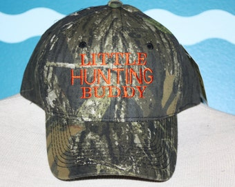 Youth Camo Baseball Cap - Little Hunting Buddy baseball hat - embroidered camo youth ball cap - Camo youth hunter baseball hat - youth gift