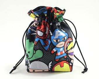 Kawaii Superhero Drawstring Bag, Dice Bag