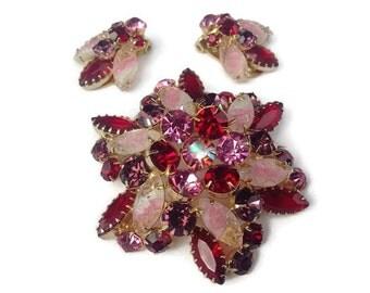 Juliana Unusual Carved Givre Glass, Ruby Red, Pinks & Amethyst Rhinestones Demi Parure Set