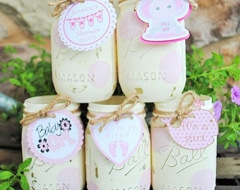 Baby Girl Shower Mason Jar Centerpieces, Shower Table Centerpieces, Itu0027s A  Girl Shower Tags