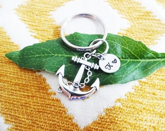 ANCHOR KEYCHAIN - anchor keyring, zipper pull - with initial charm (fits 1-2 characters) Read item details below and see all photos