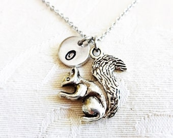 3D SQUIRREL NECKLACE in silver or bronze tone  - personalized with initial charm - choice of chains