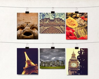 6 Blank Greeting Cards, Note Cards, Travel Scene Notecards, Europe