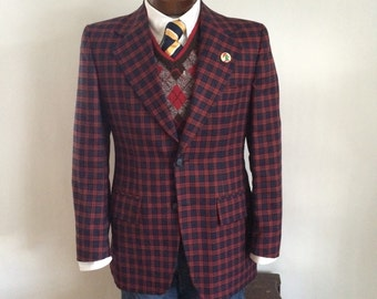 70s Plaid Blazer Red & Navy Crisp Vintage Jacket Rockabilly Hipster