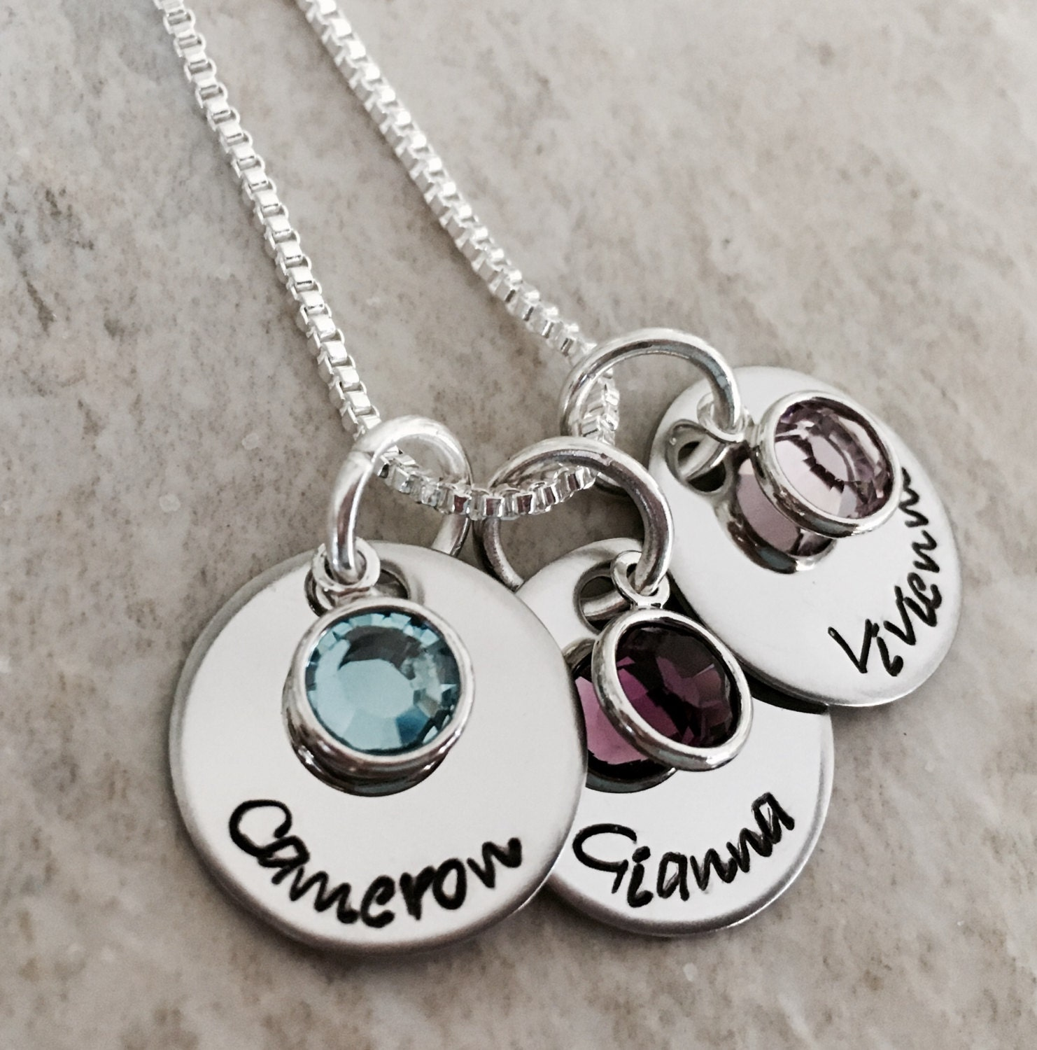 personalized name necklace with birthstone crystals mothers. Black Bedroom Furniture Sets. Home Design Ideas