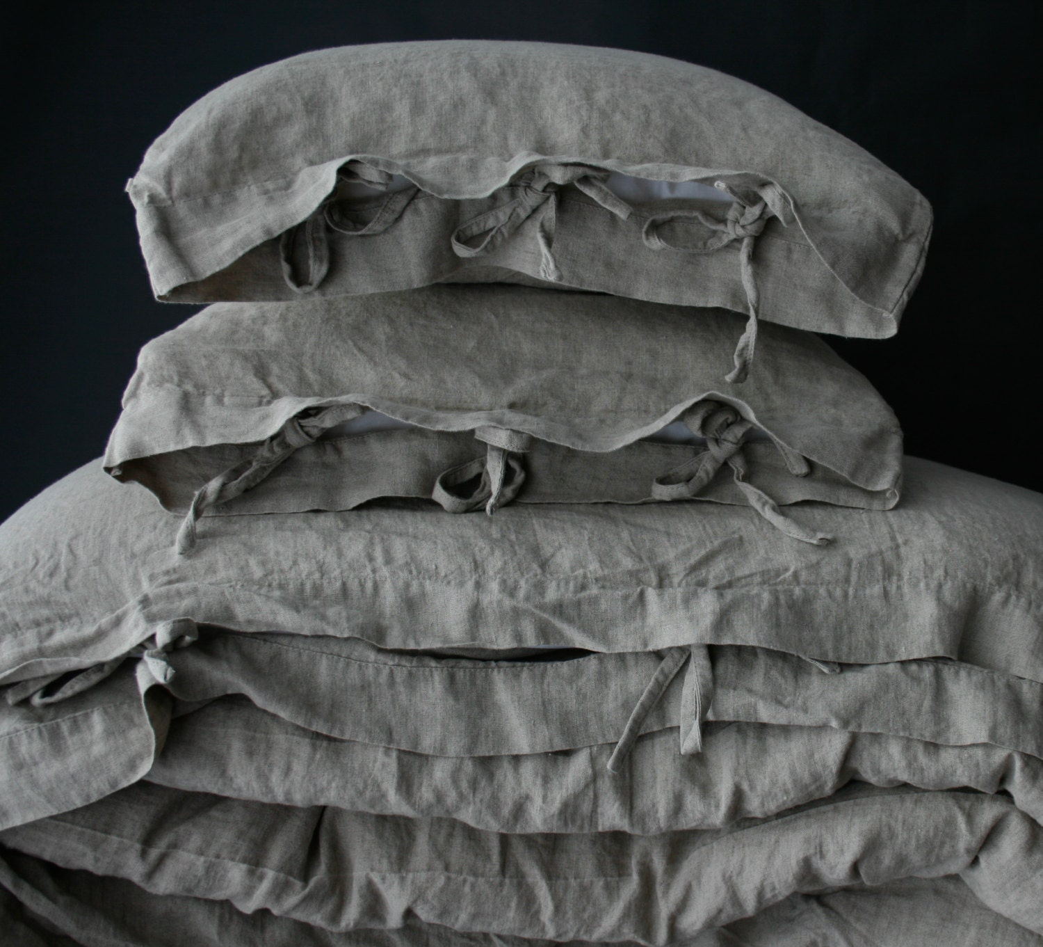 linen duvet cover. gray french linen duvet cover with ties. - Copripiumino Coin Lino