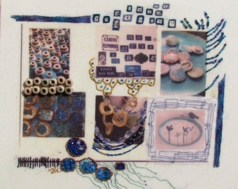 VALENTINE SALE The colors of GREECE,  Mixed media,  Hand embroidery, wall hanging embroidered collage,  fiber art Ooak
