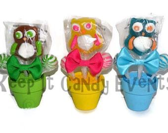 Mini Owl Lollipop Arrangement, Mini Owl Lollipop Favor, Candy Favor, Edible Favor, sweet 16, sweet sixteen favor, lollipop favor, birthday