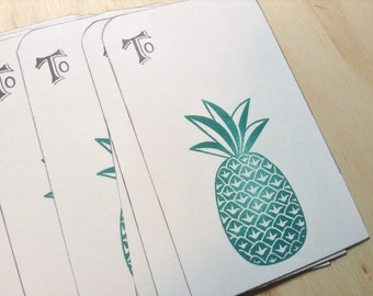 vintage inspired gift tags, to, pineapple, hand stamped, set of 10