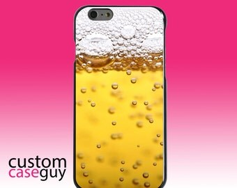 Hard Snap-On Case for Apple 5 5S SE 6 6S 7 Plus - CUSTOM Monogram - Any Colors - Beer Glass Foam Bubbles