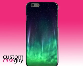 Hard Snap-On Case for Apple 5 5S SE 6 6S 7 Plus - CUSTOM Monogram - Any Colors - Aurora Borealis Northern Lights