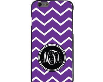 Hard Snap-On Case for Apple 5 5S SE 6 6S 7 Plus - CUSTOM Monogram - Any Colors - Purple White Chevron Initial
