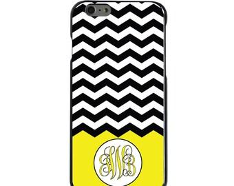 Hard Snap-On Case for Apple 5 5S SE 6 6S 7 Plus - CUSTOM Monogram - Any Colors - Black White Chevron Yellow Initials
