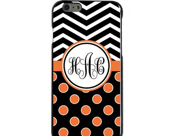 Hard Snap-On Case for Apple 5 5S SE 6 6S 7 Plus - CUSTOM Monogram - Any Colors - Black White Polka Dots Chevron