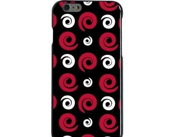 Hard Snap-On Case for Apple 5 5S SE 6 6S 7 Plus - CUSTOM Monogram - Any Colors - Arkansas Razorbacks Colors - Swirls Pattern