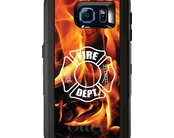 Custom OtterBox Defender for Galaxy S5 S6 S7 S8 S8+ Note 5 8 Any Color / Font - Flames Fire Department