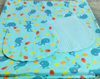 Whales and Fish with Green Poke Dot Backing Hemstitched Baby Blanket and Burps ready for you to crochet by Lindas Hemstitching