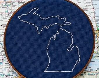 State of Michigan map, CROSS STITCH PATTERN