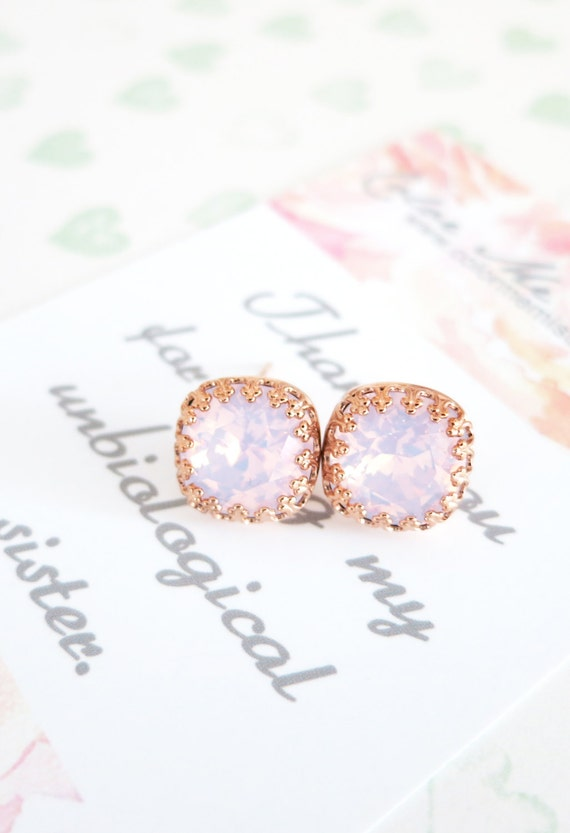 Emma - Swarovski Rose Water Opal light pink Crystal Crown Bridal Post Stud Earrings Cushion Cut Square 10mm Wedding Bridesmaids Gifts