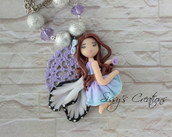 Necklace Fairy on filigree - POLYMER CLAY