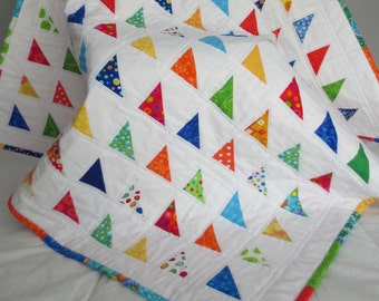 Rainbow Triangles Ready to Ship Baby Quilt--39x39