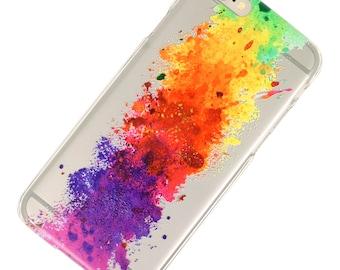 Watercolor Rainbow Splatter Smoke Cloud iPhone Case-Transparent- iPhone 6-iPhone 7- iPhone 6 Plus- iPhone 7 Plus-Galaxy S7- Note 5-1 Piece