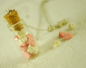 meringue jar necklace - food jewelry - pink