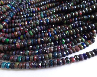 Gorgeous AAA quality Black Ethiopian Opal faceted rondelle beads full flashy fire size 4.25-5.5mm sold per 16-inch strand GW578