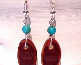 Unique Handmade Ceramic Earrings, Deep Rouge, Round Turquoise Bead, Silver