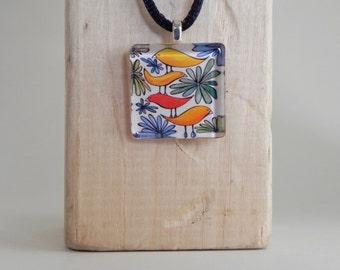 Birds and Flowers Pendant, Bird Pendant, Art Pendant