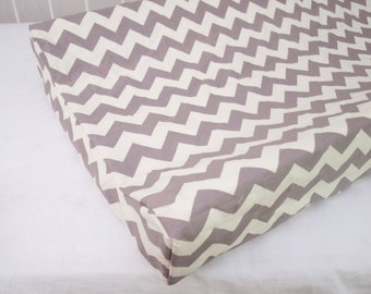 Cream and  Gray / Grey Chevron Changing Pad / Mat Cover