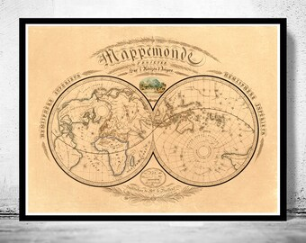 Old World Map antique 1839