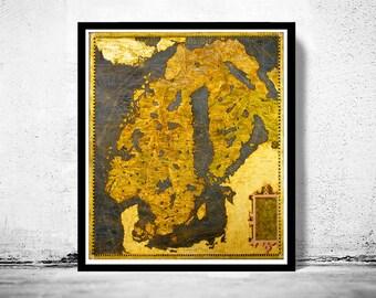Old Map of Norway Sweden Scandinavia Antique Norwegen 1565