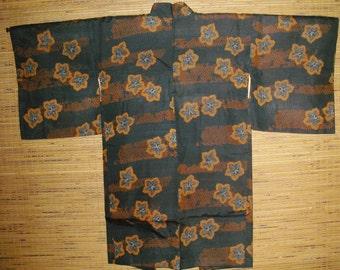 HAORI SHOWA MEISEN Black Silk Japanese Haori Kimono Jacket, Maple Leaves Black Meisen Silk Haori,Gorgeous Black Meisen Showa Kimono Jacket