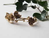 Cherry Blossom Bracelet- Delicate Floral Jewelry in Brass, Bronze, or Silver