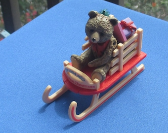 Vintage Hallmark 1984 Baby's First Christmas Teddy Bear Sled Ornament TLC