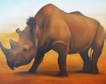 Ochre Rhino - Original Oil Painting