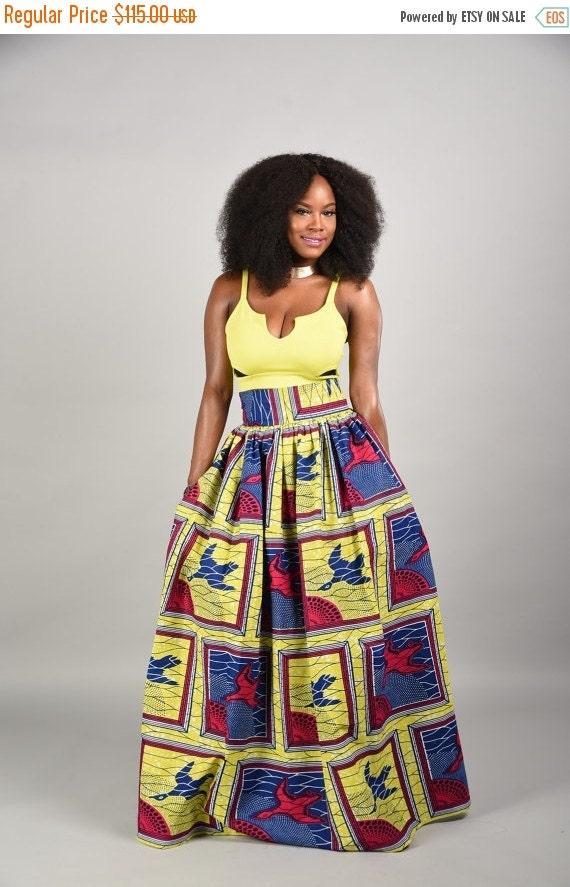 SALE Lemon African print  Maxi Skirt