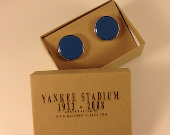 Historical Cufflinks made from a seat removed from the Old Yankee Stadium.