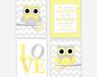 Baby Girl Nursery Decor Yellow Gray Grey Owl You Are My Sunshine LOVE Chevron Quatrefoil Baby Girl Nursery Art Owl Wall Decor Customize