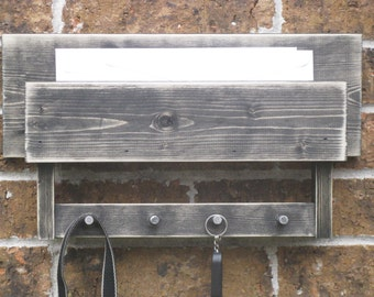 Key and Mail Holder Rustic Black and Distressed