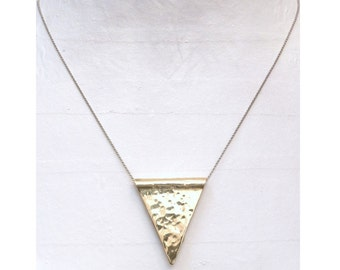 2208 Hammered Brass Triangle on Brass Chain Necklace
