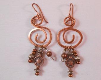 Big Copper Hoop Swirl Earrings - Hammered Hoop Earrings - Statement Earrings - Copper Jewelry, Copper Earrings, Hoops, Urban,  Boho, Tribal