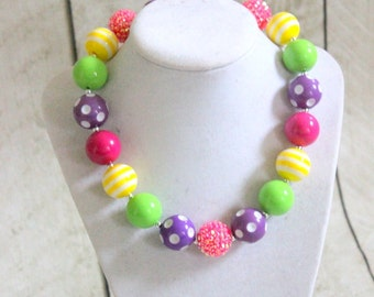 bubblegum chunky birthday necklace candy necklace Easter necklace art party rainbow necklace pearl and rhinestone pink yellow lime purple