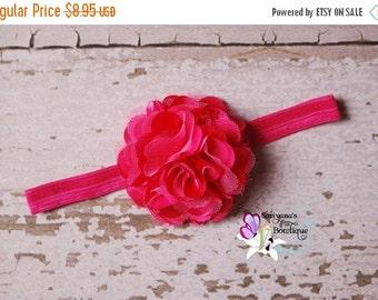 SALE CIJ Hot Pink Satin Tulle Puff Flower Headband Clip, Flower Girl, Baby Girl Toddler Woman - SB-014Hp