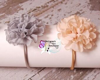 Gold Beige Gray Singed Petal Chiffon Flower Hard Headband, Christmas, Flower Girl - SB-
